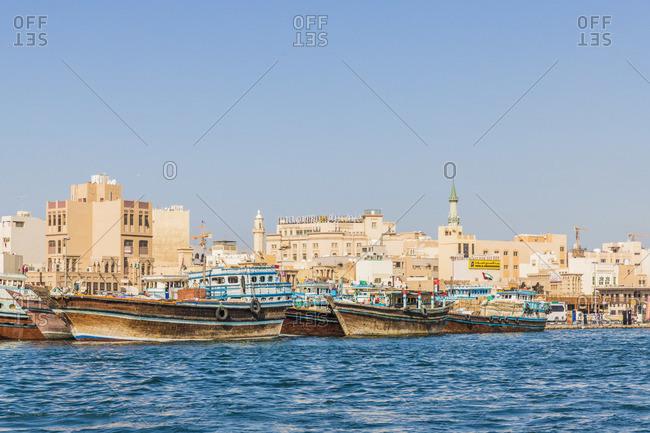 United Arab Emirates - November 29, 2019: Abra boats on Dubai Creek, Dubai, United Arab Emirates
