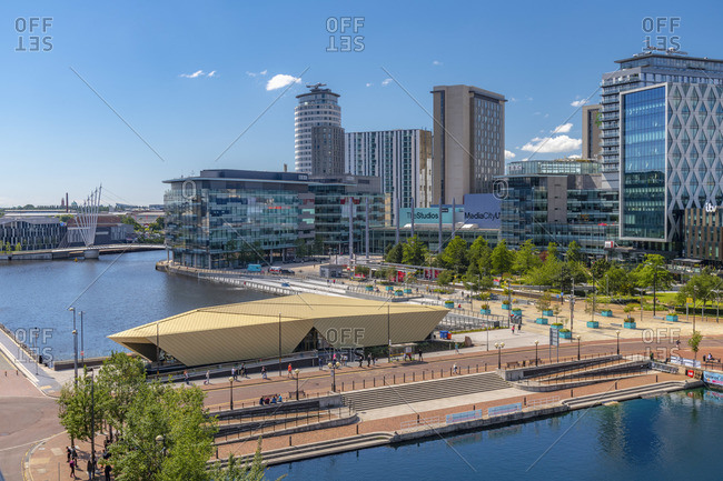 England - January 21, 2020: UK, England, Greater Manchester, Salford, Salford Quays, North Bay, MediaCityUK