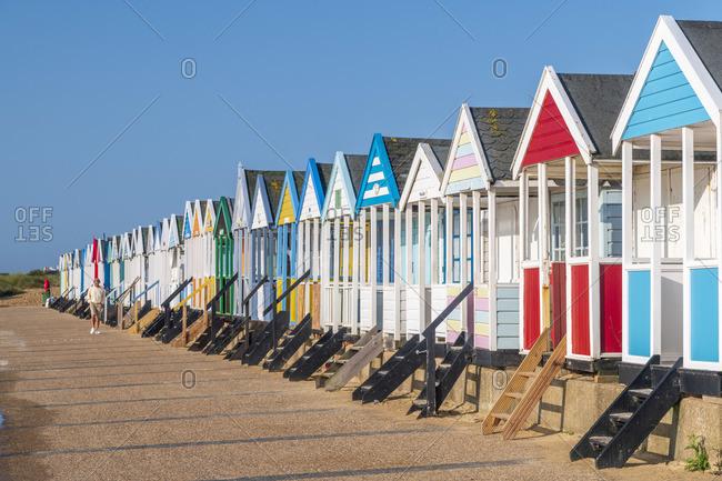 England - February 20, 2020: UK, England, Suffolk, Southwold, Beach Huts