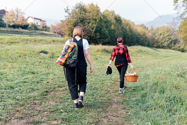 Friends going for picnic, Rezzago, Lombardy, Italy