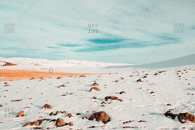 Snow covered landscape, Namafjall Hverir, abaer, Skagafjardarsysla, Iceland