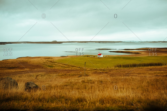 Autumn landscape, lake in background, Reykjav�k, Gullbringusysla, Iceland