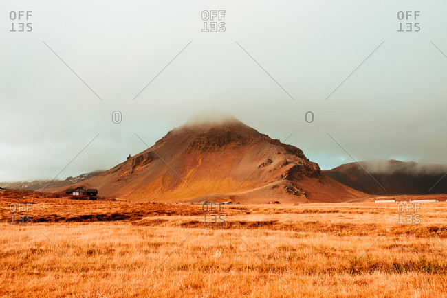 Fog over mountain top, Londrangar, Snaefellnes Westfjords, Iceland