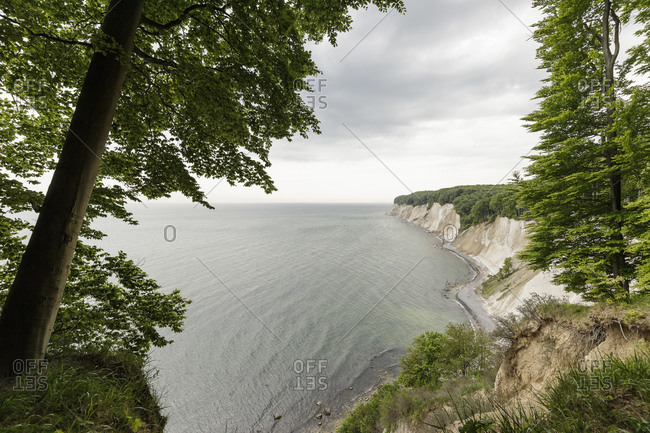 Landscape with coastal chalk cliffs, Jasmund National Park, Sassnitz, Rugen, Mecklenburg-Vorpommern, Germany