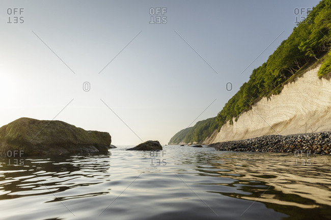 Seascape with chalk cliffs and blue sky, Jasmund National Park, Sassnitz, Rugen, Mecklenburg-Vorpommern, Germany