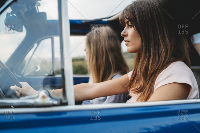 Female friends on a road trip