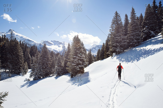Mature man snowshoeing in snow covered mountain forest, distant rear view, Styria, Tyrol, Austria