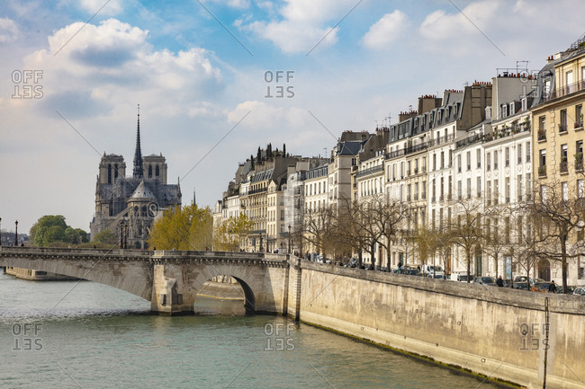 April 14, 2019: Scenic waterfront view of Notre Dame Cathedral, Paris, France