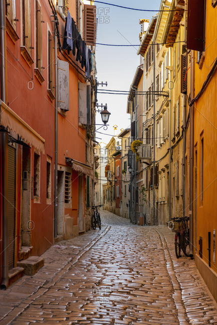 April 20, 2019: Empty narrow cobblestone street, Rovinj, Croatia