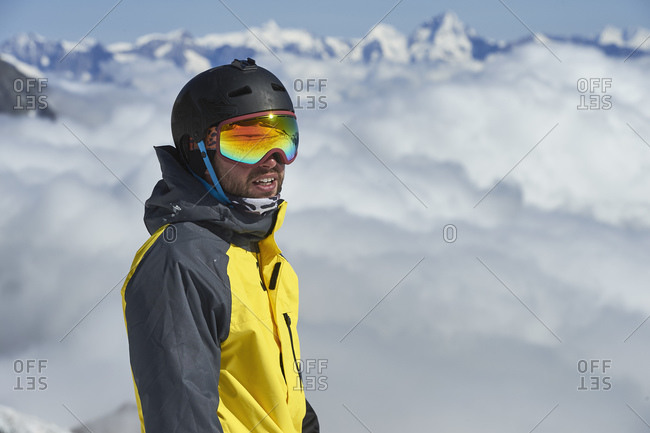 Portrait of skier, Saas-Fee, Valais, Switzerland
