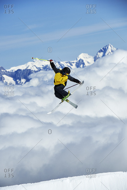 Skier in midair, Saas-Fee, Valais, Switzerland