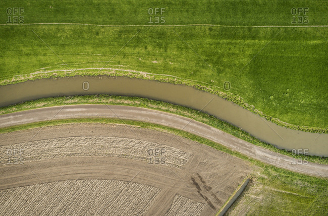 Ditch, dyke, ploughed field and pasture, overhead view, Maasdijk-Heenweg, Zuid-Holland, Netherlands