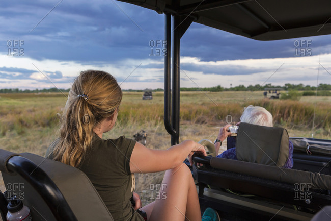 A teenage girl and senior man seated in a safari jeep observing a pack of wild dogs.