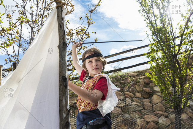 6 year old boy pretending to be a pirate