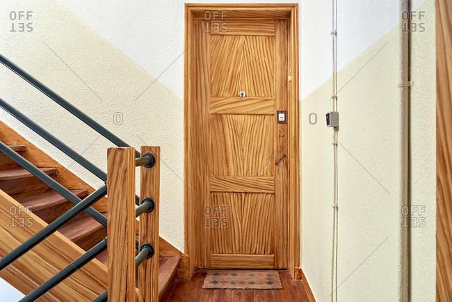 Apartment door inside building in Lisbon, Portugal