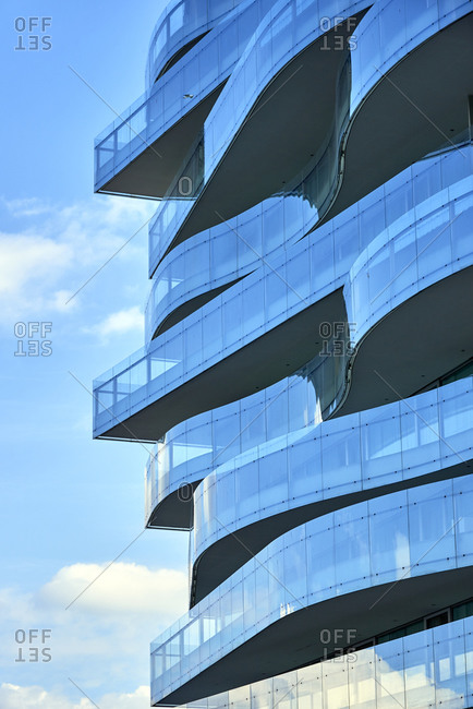 Troia, Portugal - January 22, 2017: Modern glass balconies on the Troia Design Hotel
