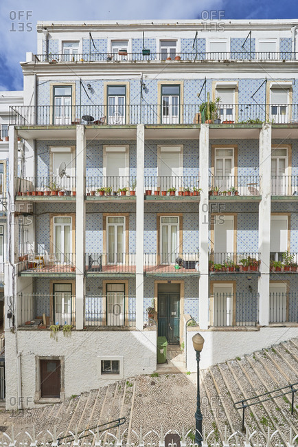 Apartments with windows and balconies, Calcada do Lavra, Lisbon, Portugal
