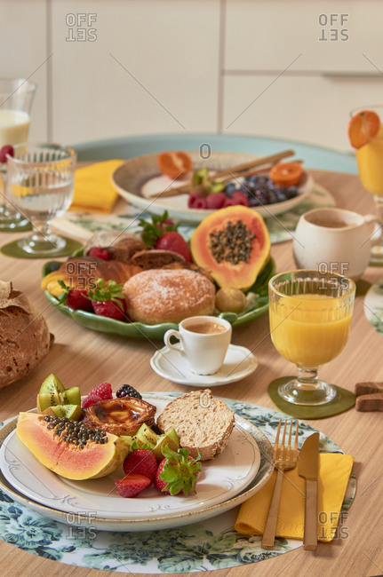 Portuguese breakfast with fruit and pastries