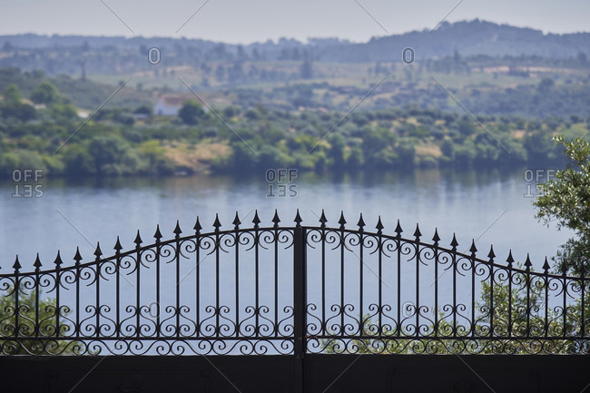 Iron gate overlooking Portas de Rodao landscape nature in Vila Velha de Rodao, in Portugal