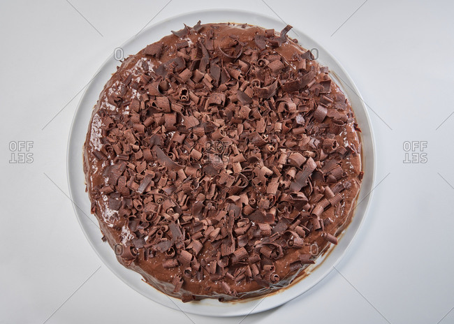 Homemade chocolate cake with chip topping and chocolate mousse
