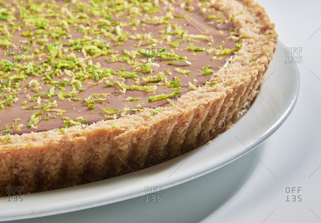 Chocolate and lime pie topped with fresh lime zest