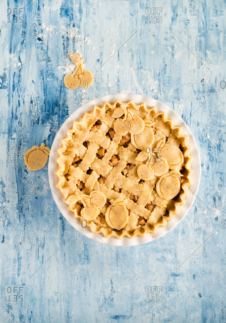 Raw apple pie ready to bake from above