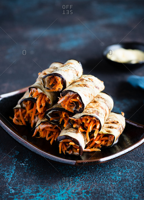 Grilled eggplant rolls with spicy carrot salad healthy vegetarian appetizer