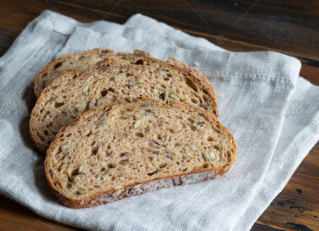 Sliced homemade whole wheat sourdough bread