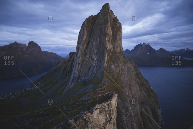 Norway, Senja, Scenic view of Segla mountain at dusk