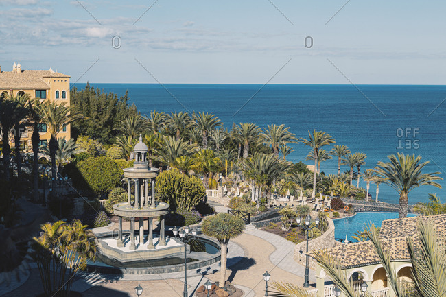 Costa Calma, Spain - June 19, 2014: View of the sea from a resort