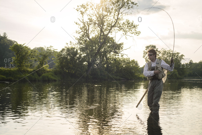 Fly fishing at sunset on a Southeastern river
