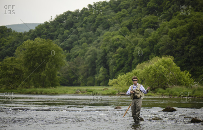 Fly fishing on a Southeastern river