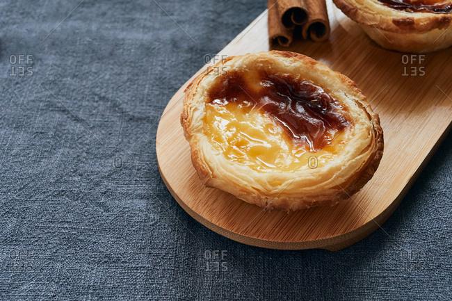 Pasteis de nata typical Portuguese dessert. Pastry concept.