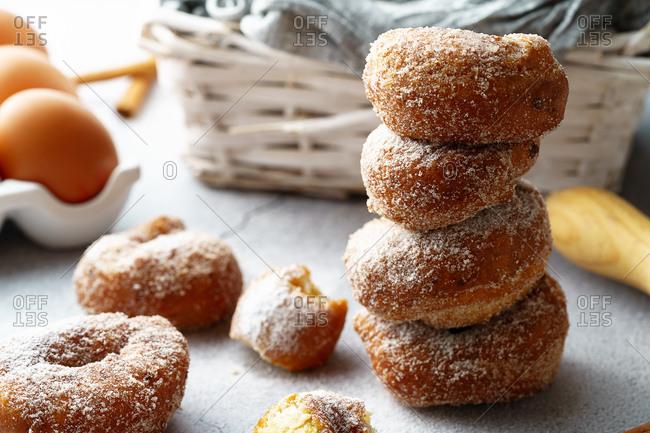 Pile of sugar and cinnamon doughnuts