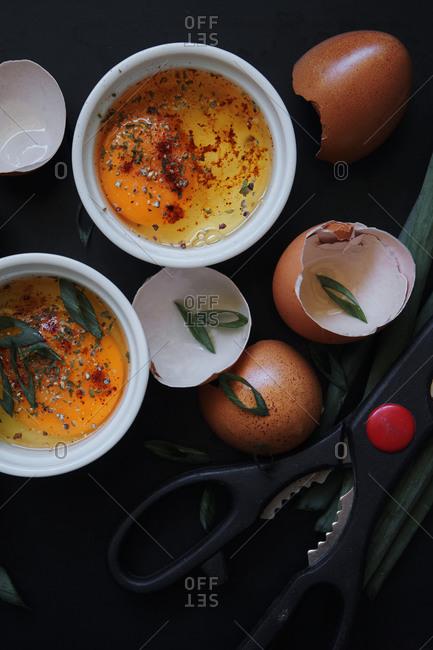 Preparing dish with fresh eggs
