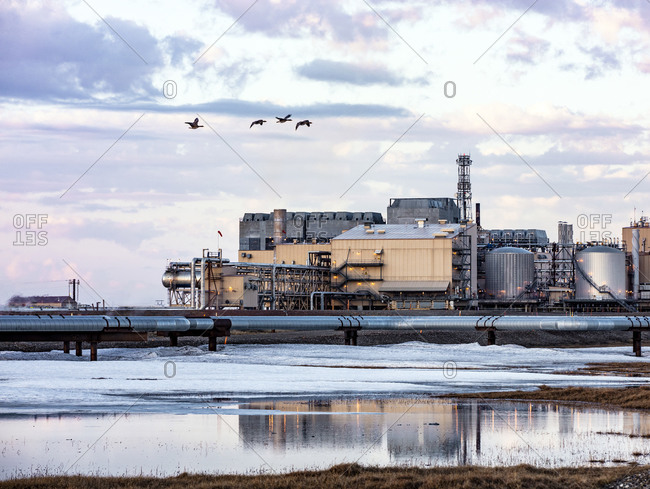 Prudhoe Bay, Alaska - June 21, 2017: Energy production on the North Slope of Alaska