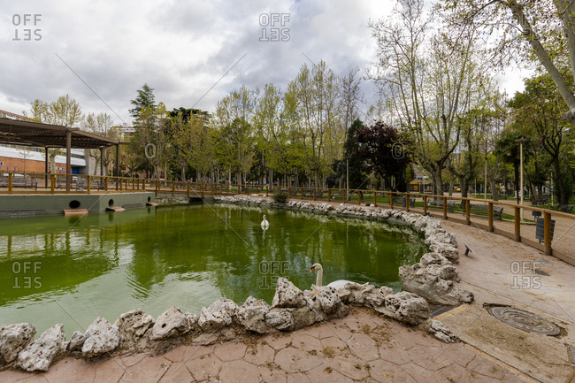 Main park Salamanca without people and neither cars during the quarantine