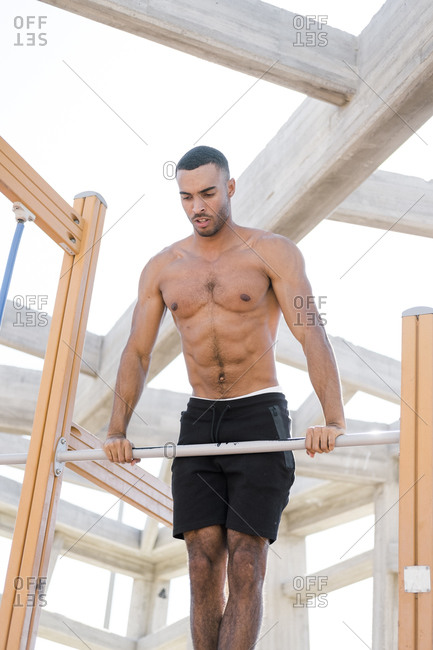 African American male athlete during work out outdoors