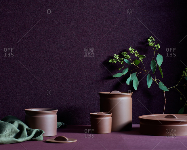 Still life with pottery jars, fabric, branch