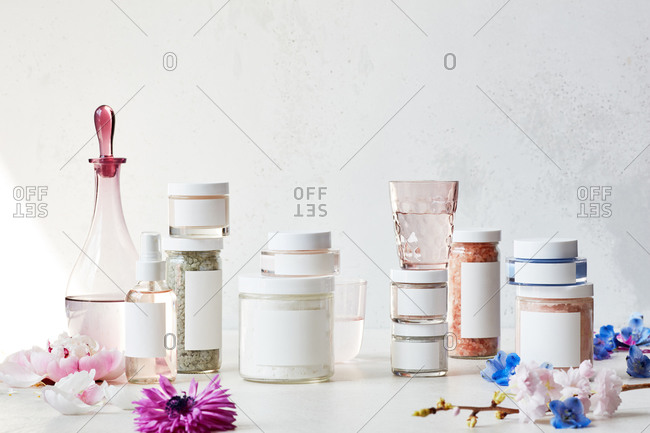 Still life display of skin care products