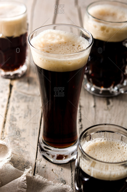 Traditional kvass beer mug on wooden table
