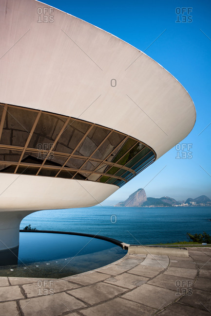 June 8, 2010: Nice views of the Niteroi Museum and a beach in Brazil