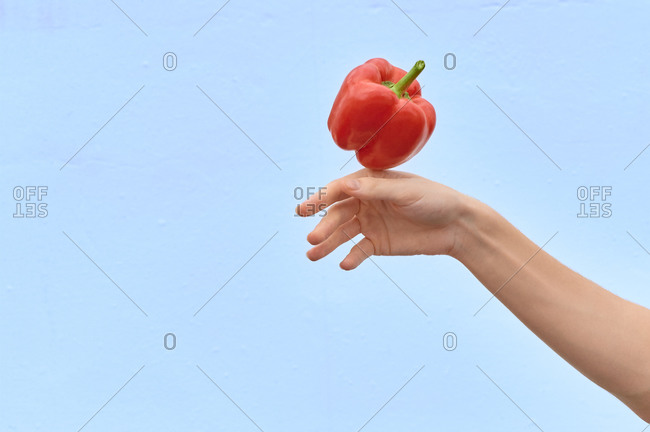 Crop woman tossing fresh red pepper in air showing concept of healthy diet on blue background