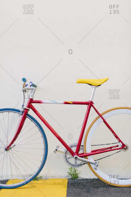 Close-up view of a colorful beautiful restored bike into a fixie