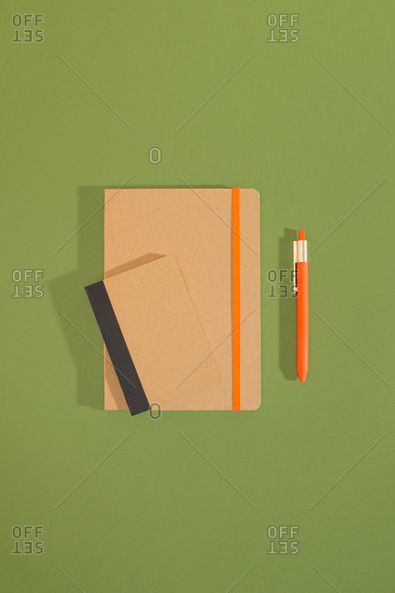 Top view of craft recycled notebooks with a pen over green background