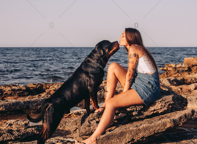 Side view of trendy tattooed woman sitting on stone and kissing Rottweiler dog while spending time on rocky seashore