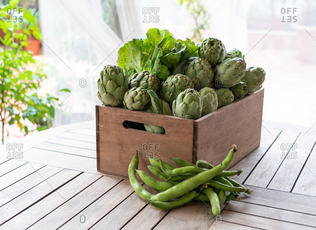 Delicious box of artichokes and lettuce seen from above