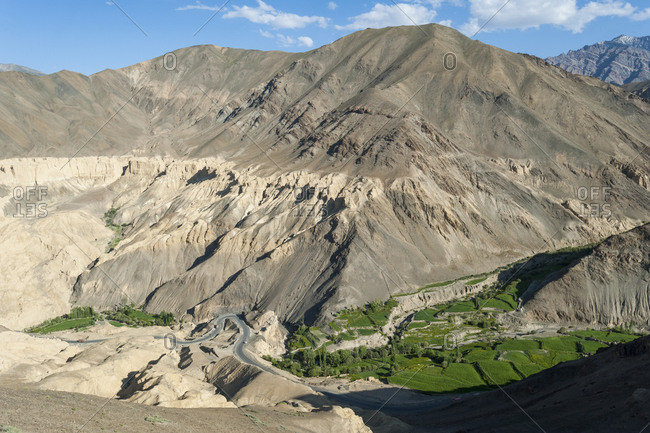 The dry landscape around Lamayuru in Ladakh in India used to be a giant lake
