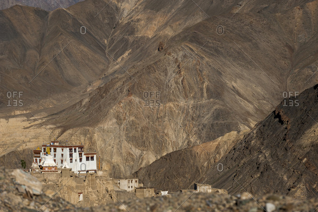 A view of the magnificent 1000 year old Lamayuru Monastery in the remote region of Ladakh in northern India