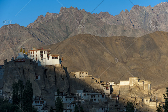A view of the magnificent 1000-year-old Lamayuru Monastery in the remote region of Ladakh in northern India
